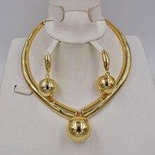 Ltaly Conjunto de joyería de color dorado para mujer, cuentas africanas, conjunto de collar a la moda, pendientes, joyería 750