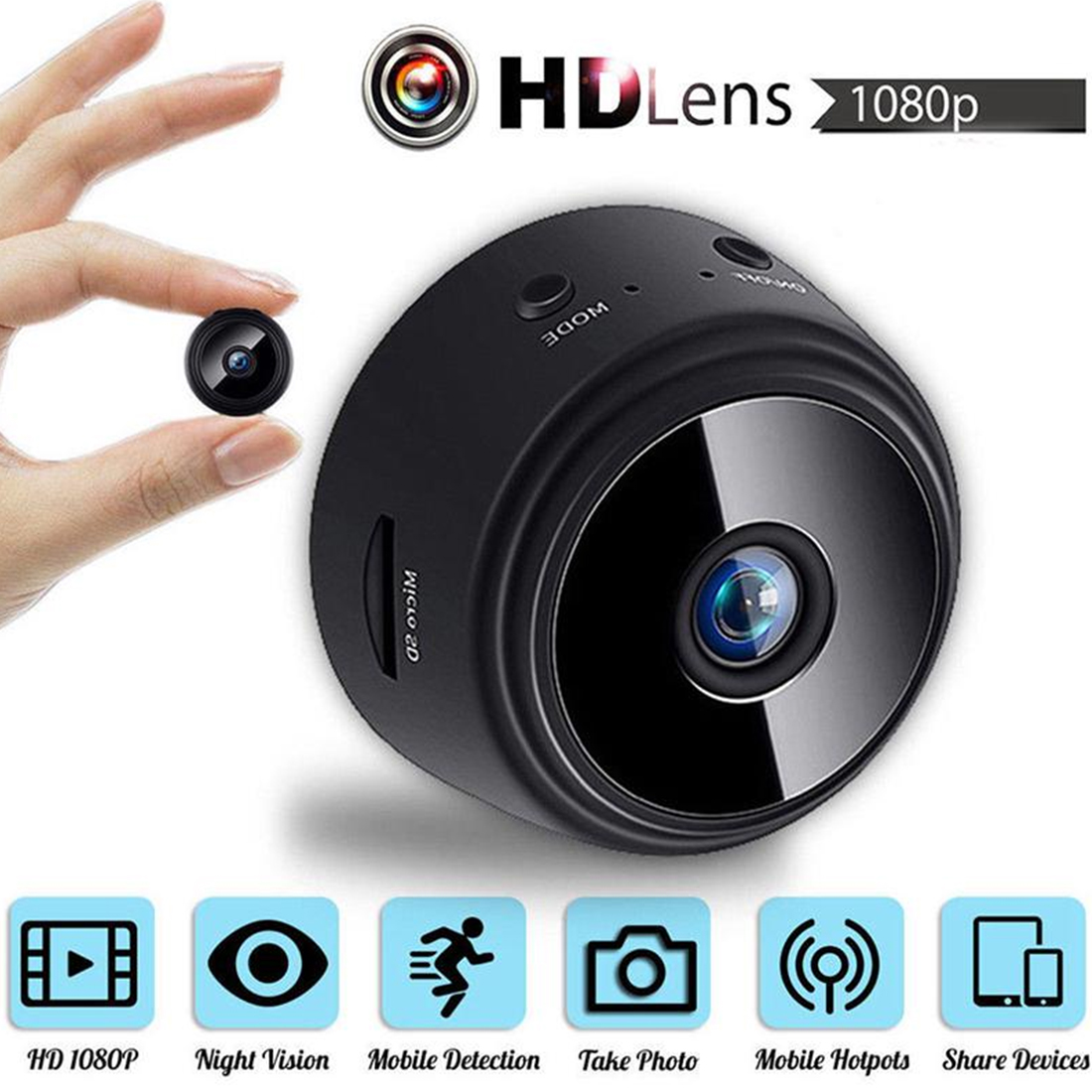 1080P A9 Mini Wireless Camera Wifi Camera Home Security Surveillance Camera Motion Detection IR Night Vision App Remote Monitor