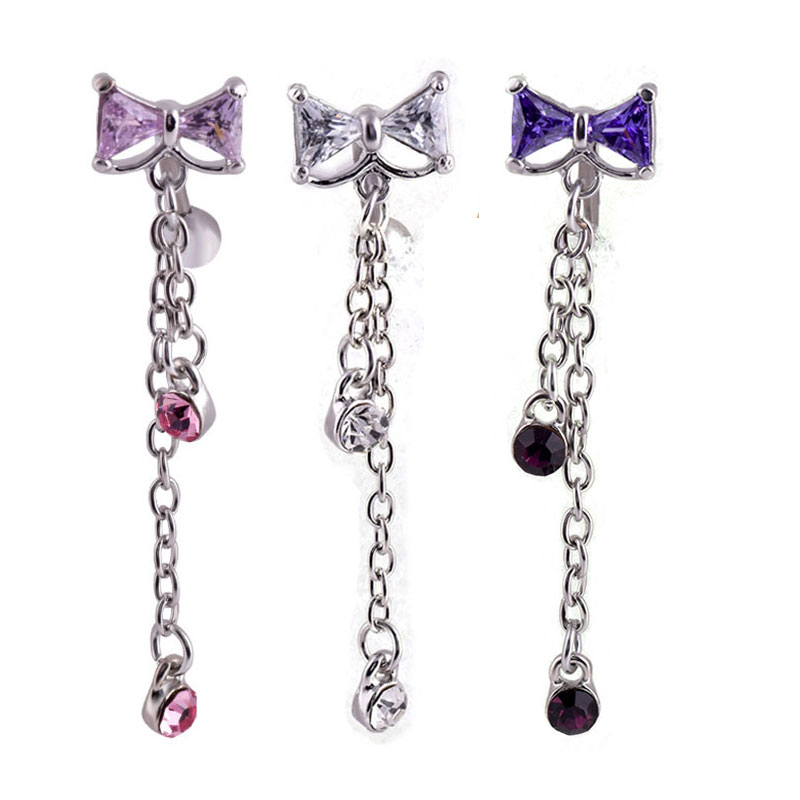 Stainless Steel Belly Button Ring Body Jewelry Piercing Crystal Bow-Knot Navel Umbilical Nail Earrings Body Navel Bell Chain New