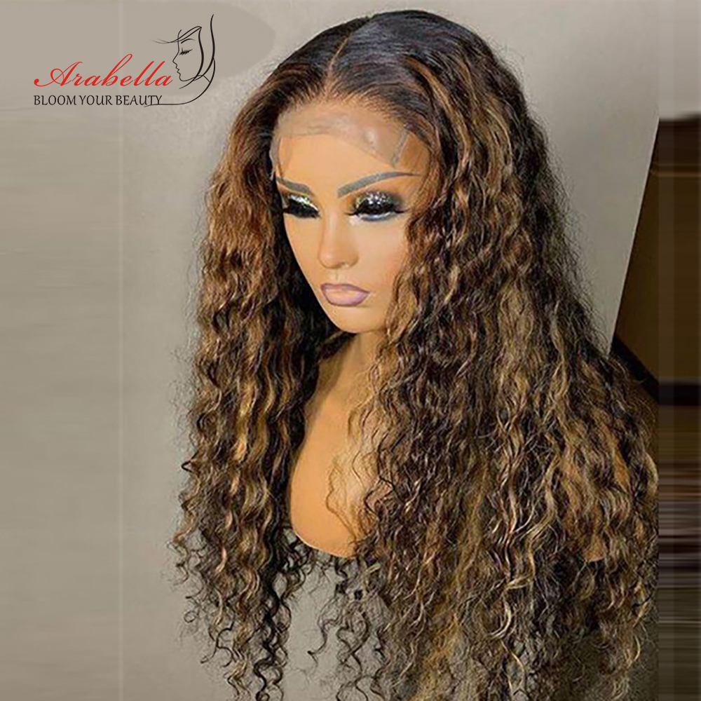 Water Wave Wig Highlight Lace Frontal Wig 100%  Wigs With Baby Hair Arabella  Hair Pre plucked Lace Closure Wig 1