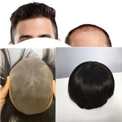 Preto colorido masculino 100% humano peruca brasileira peruca toupee para homens com renda + trama base respirável hairpiece peças de cabelo