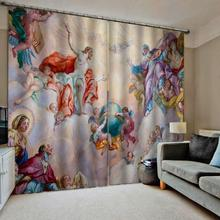 Europe curtains Customized size Luxury Blackout 3D Window Curtains For Living Room angel