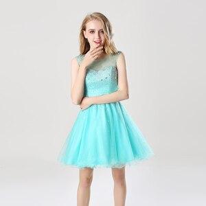 Image 3 - Vestido corto de graduación con lentejuelas brillantes para chica a la moda vestido de fiesta con espalda abierta y cuello transparente AJ032