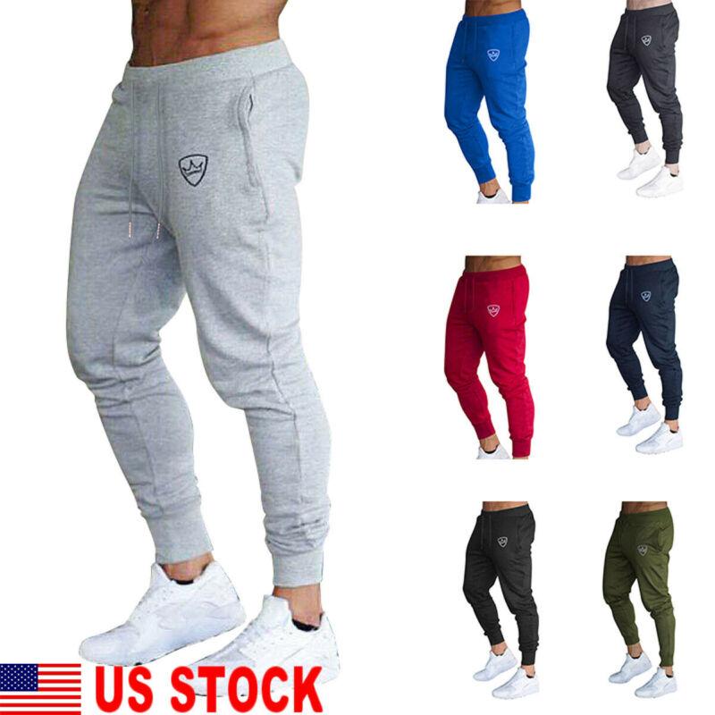 Men Sport Pants Long Trousers Tracksuit Fitness Workout Joggers Gym Sweatpant US