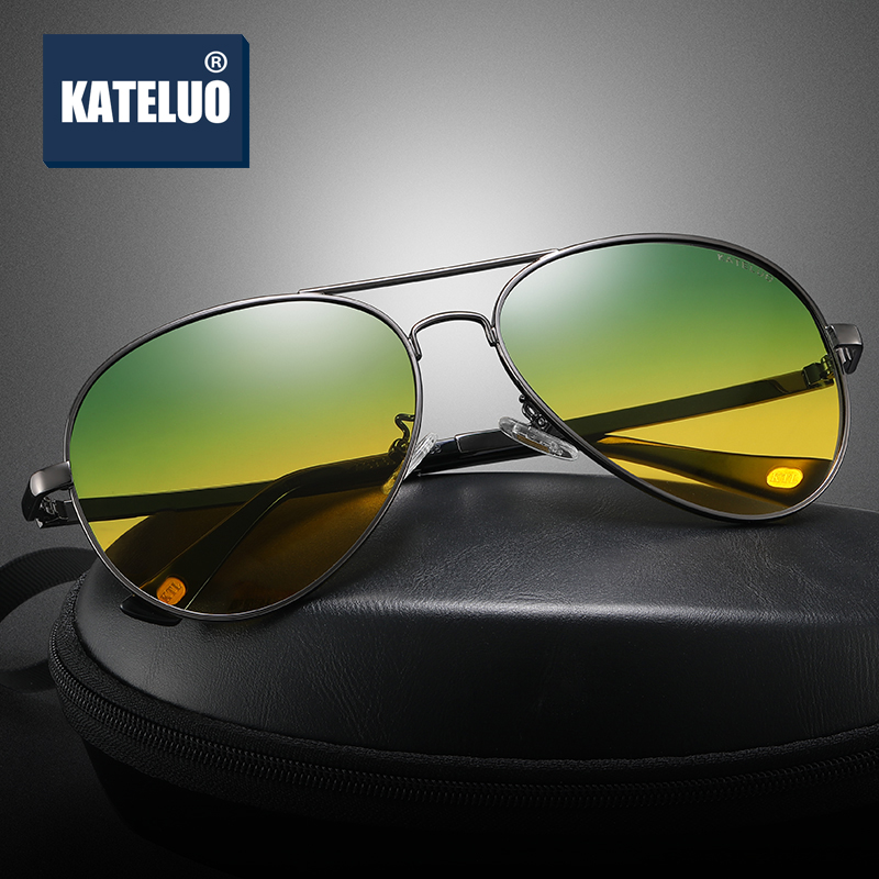 KATELUO Day Night Vision Dual Mens Alloy Sunglasses HD Polarized UV400 Male Sun Glasses For Men Eyewear Accessories 7759