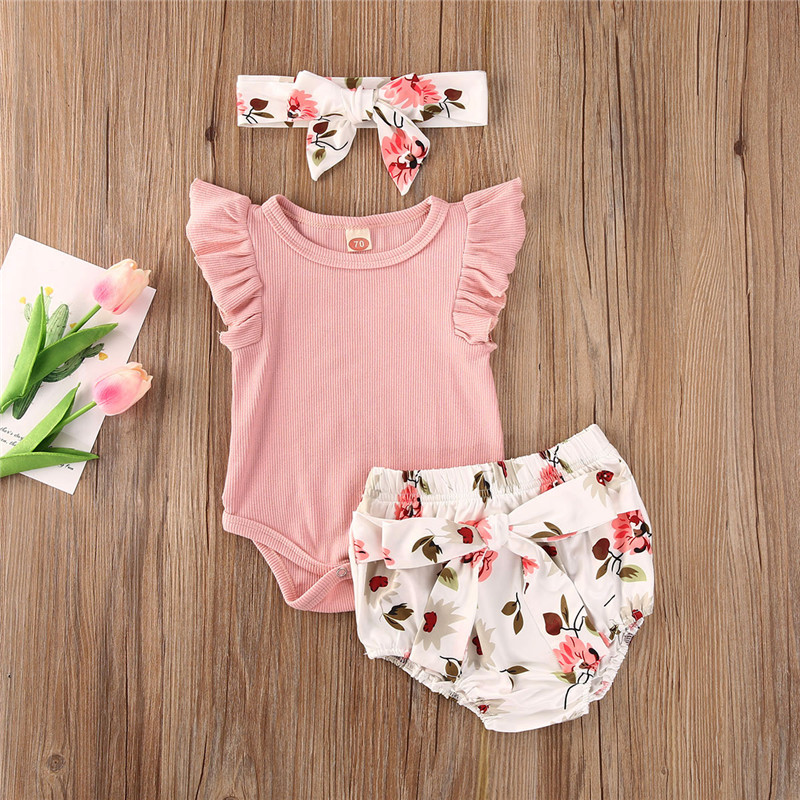 Infant Baby Girls 3-24 Months Solid Romper Tops Floral Pants Trousers Hair Band Outfits Set