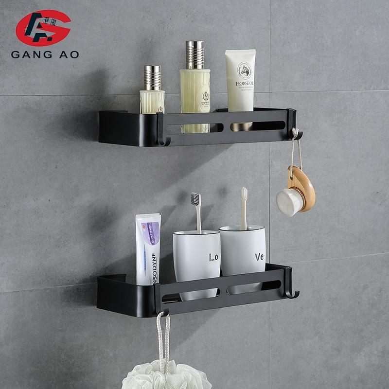 Ванная черная полка с баром для полотенец, алюминиевые угловые полки, вешалка для полотенец с крюком, держатель для шампуня, кухонная стойка для хранения|Полки для ванной|   | АлиЭкспресс