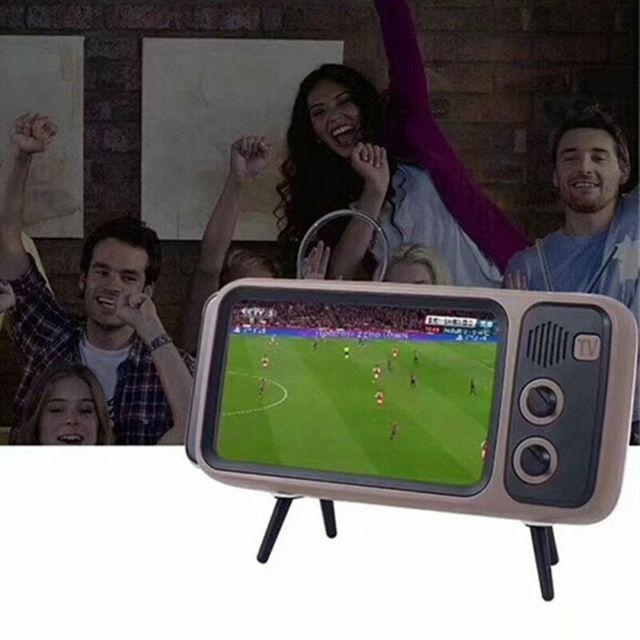 Mini Portable Retro BT Bluetooth Speaker Music TV Design Mobile Phone Holder Speaker Stereo Outdoor Sound 4