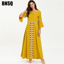 Элегантное этническое женское длинное платье желтого цвета с геометрическим рисунком и цветочной вышивкой, макси платья 3/4, летняя мусульманская одежда с расклешенными рукавами