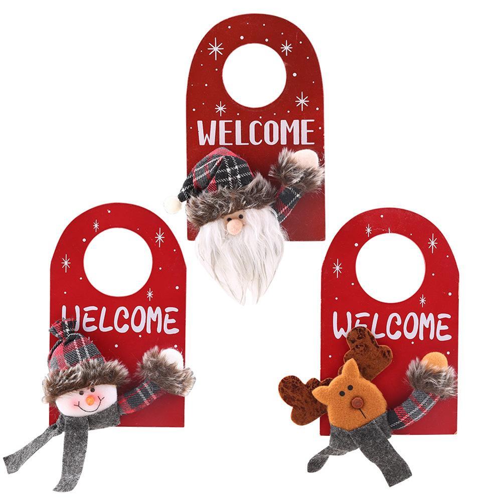 Christmas Santa Claus Snowman Elk Door Hanging Ornament Home Xmas Party Decor Claus/Snowman/ Design Hang