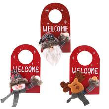 Christmas Santa Claus Snowman Elk Door Hanging Ornament Home Xmas Party Decor Claus/Snowman/ Design Hang