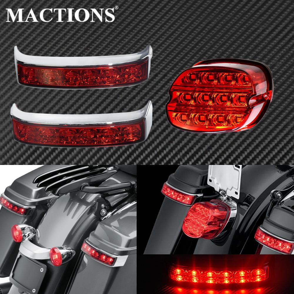 Motorcycle Red Led Saddle Bag Luggage Tail Turn Signal Lights Lamp Rear Brake Tail Light For Harley Touring FLHT FLHX Road King