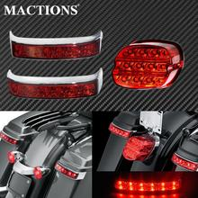 Motorcycle Red Led Saddle Bag Luggage Tail Turn Signal Lights Lamp+Rear Brake Tail Light For Harley Touring FLHT FLHX Road King
