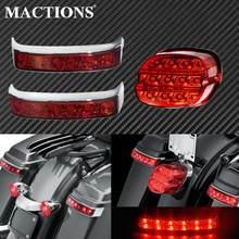 Motocicleta led vermelho saco de sela bagagem cauda turno sinal luzes da lâmpada + freio traseiro luz da cauda para harley touring flht flhx estrada rei