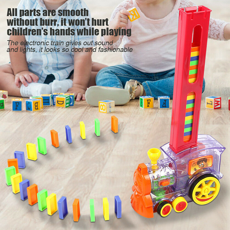 Domino rally Train Toy Set Rally Electric Model With Light And Sound Xmas gifts