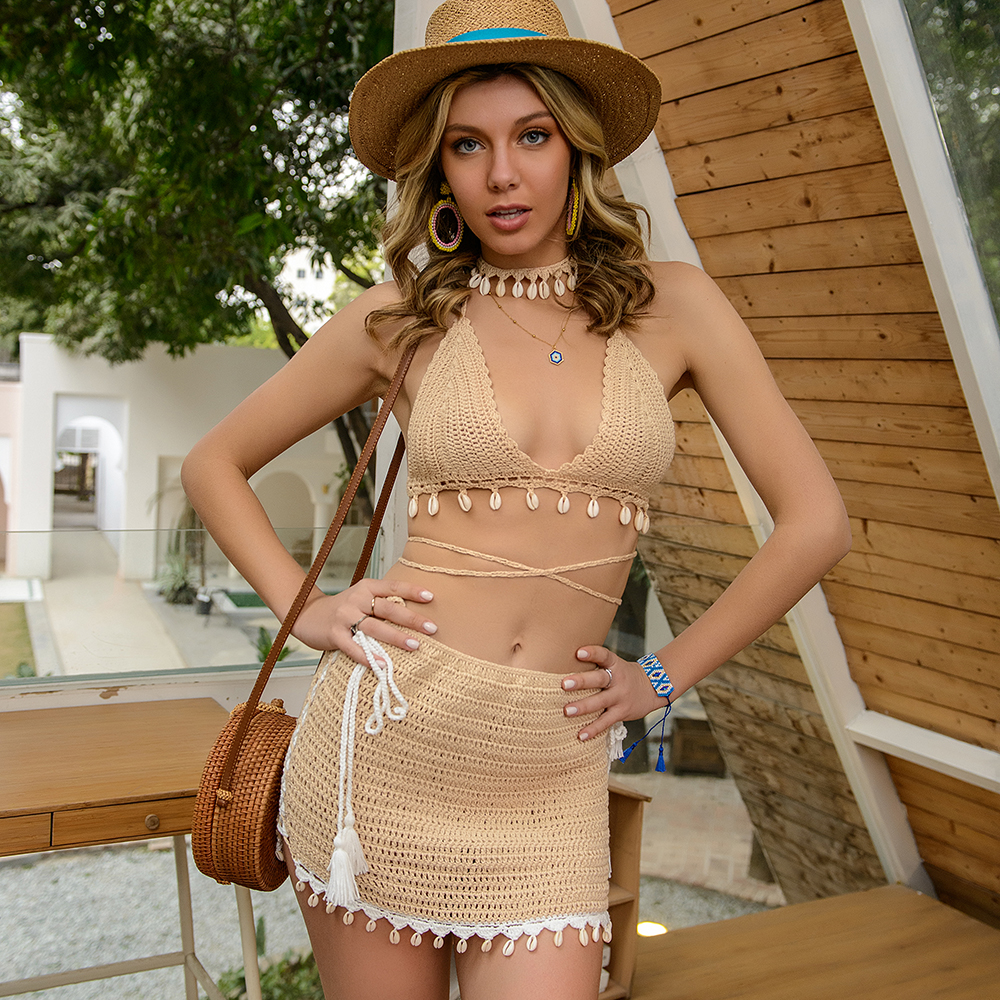 3pcs Bikini Set Woman Crochet Shell Tassel Bikini Top And Seashell Ankle Chain Sexy Beach Skirt Lace See Through Slim Mini Skirt