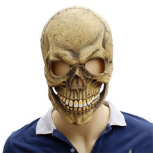 Scary Skull Mask Full Head Realistic Latex Party Mask Horror Skeleton Halloween Cosplay Costume For Adult Men Helmet(China)