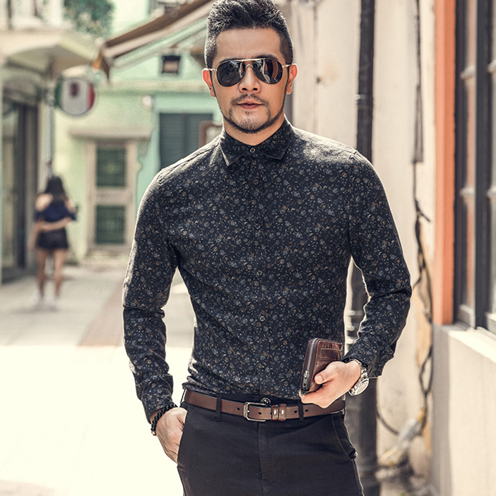 New Autumn Men's Print Shirt Long Sleeve Fashion Casual Business Slim Dress Shirts Mens Wedding Party Shirt S5002
