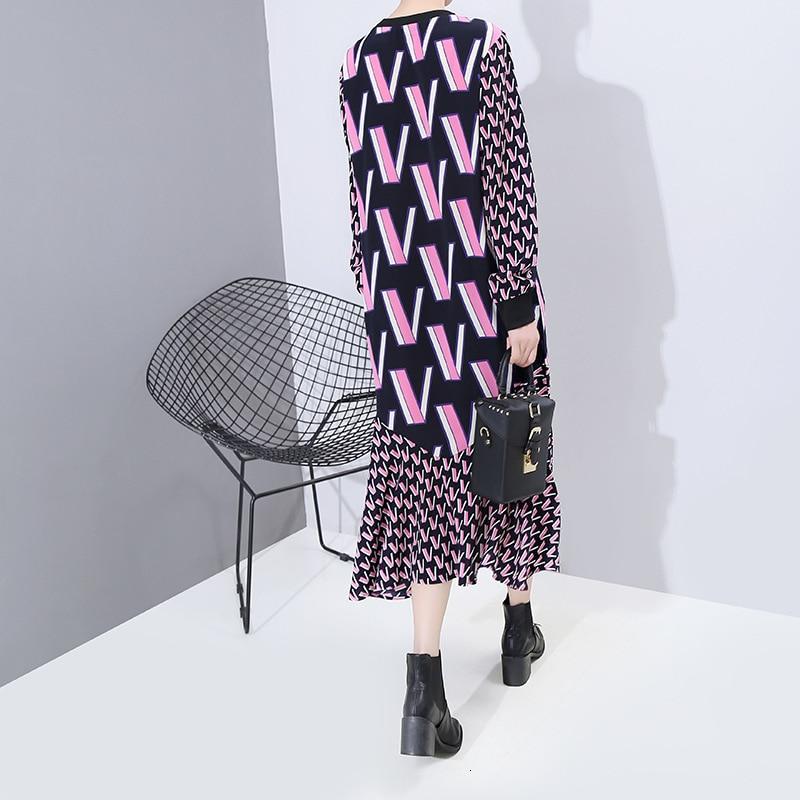 [EAM] Women Pattern Print Split Temperament Dress New Round Neck Long Sleeve Loose Fit Fashion Tide Spring Autumn 2020 1N250 1