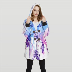 Image 2 - 2019 Bomber Womans Plus Size 3d Print Convertible Hoodie Jackets 100% Polyester Tops Soft Jacket Woman Customer Design Wy21