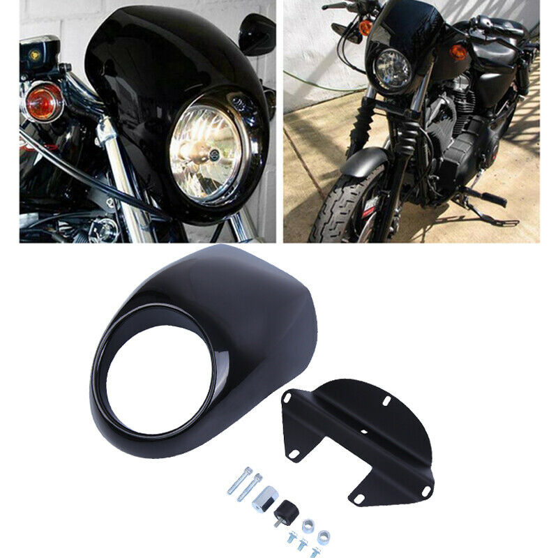 Motorcycle Headlight Cover Mask Headlamp Fairing Front Cowl 5 3/4 CNC Black For Harley Sportster Dyna
