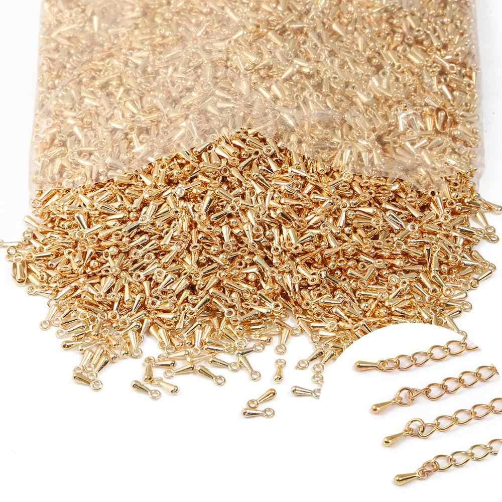 100 יח'\חבילה 2*7MM נחושת מים סוף טיפת חרוזים מלחץ סוף מורחב הארכת שרשרות עבור DIY שרשרת צמיד תכשיטי ביצוע