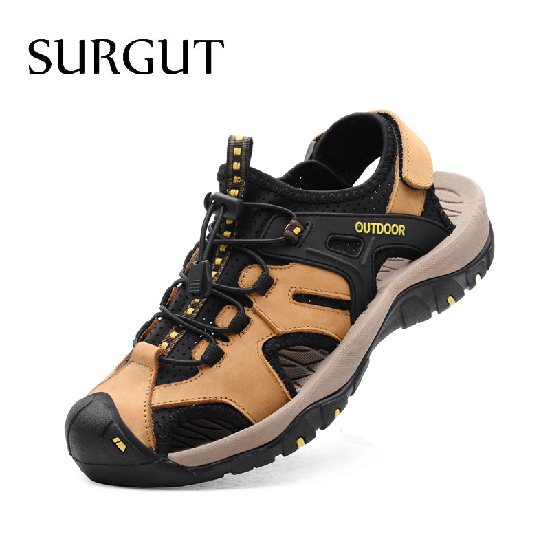 SURGUT Summer Men Sandals Genuine Leather Business Casual Shoes Men Breathable Design Outdoor Beach Sandals Roman Water Sneakers