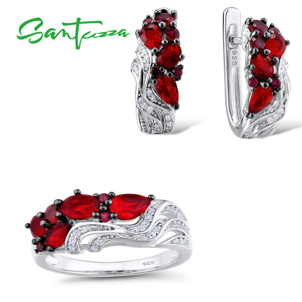 SANTUZZA 925 argent ensemble de bijoux pour femmes ovale poire rouge pierre boucles d'oreilles ensemble de bagues de luxe cadeau accessoires de mariage bijoux fins