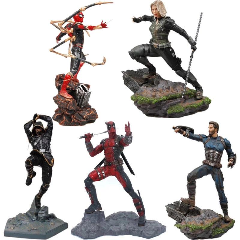 Vingadores Capitão América figura Marvel spiderman ironman Deadpool Danvers Estátua de Estúdios de Ferro Figuras de Ação PVC figura de brinquedo
