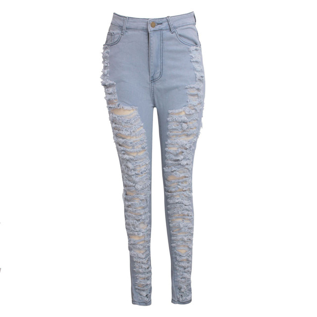 2019 Fashion Clothes Women Slim Pants Washed Ripped Hole Gradient Long Jeans Denim Sexy Regular Pants Plus Size S-2xl#35 3