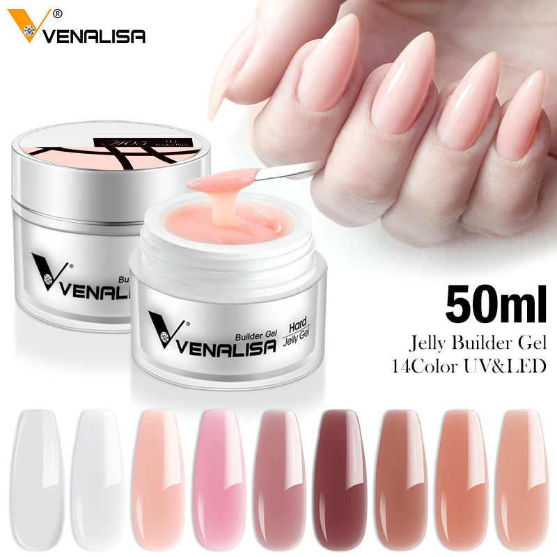 50Ml CANNI Pabrik Rendam Off Tebal Jelly Gel LED & Pembangun Sinar UV Gel 14 Warna Kamuflase Transparan Nail Art keras Kuku Gel Supply