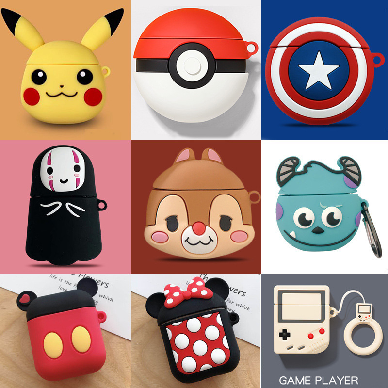 Cute Cartoon <font><b>Pikachu</b></font> Chipmunk Silicone Cover for Wireless Earphone <font><b>Case</b></font> For Apple <font><b>Airpods</b></font> 1 2 Headphone Protect <font><b>Case</b></font> Keychain image