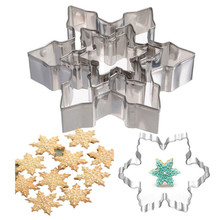 3pcs/lot 3D Stainless Steel Christmas Cookie Cutter Mold Bakeware Baking Snowflake Biscuit Fondant Cutter Kitchen Accessorie