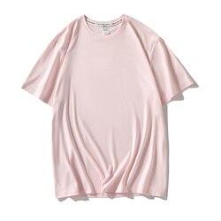 Harajuku camiseta tamanho grande rosa, cor sólida, básica, casual, coreana, hipster, branca, dropship