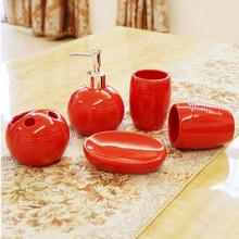 5pcs/set Red China Black, white Thread floral patterns Ceramics Bathroom accessories toothbrush holder Wedding Gifts