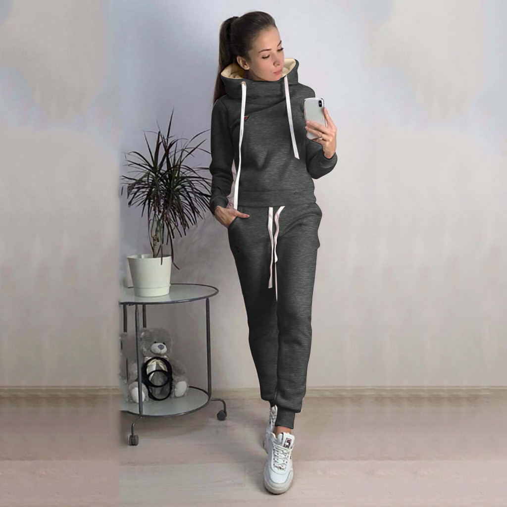 2019 Casual Warm Winter Clothes Two Piece Set Women Sport Pullover Solid Sweatshirt Hoodie Tracksuit Conjuntos De Mujer Feminino