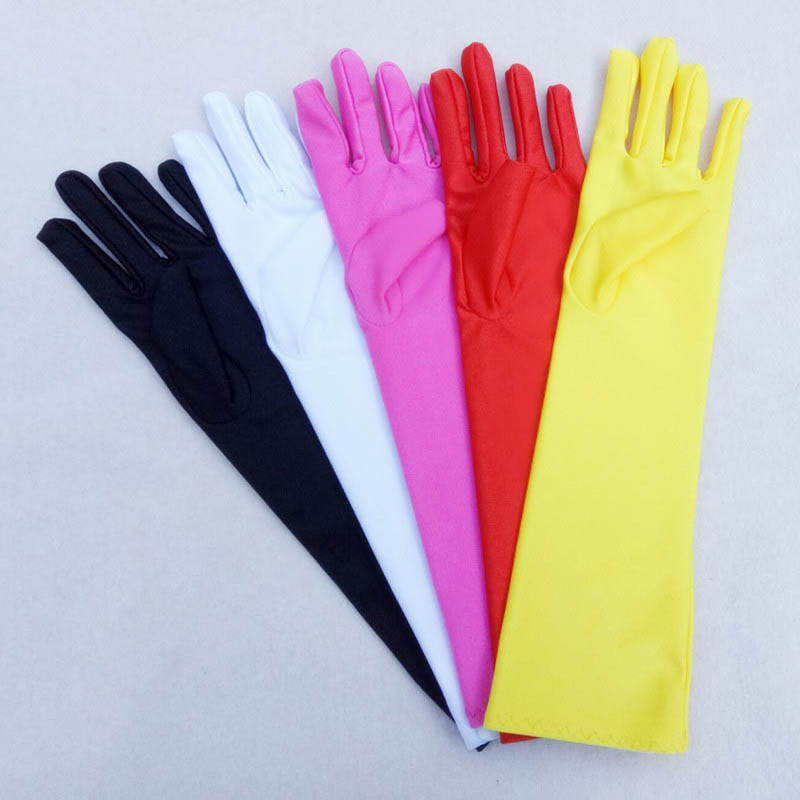 Little Girls Princess Gloves Solid Color Long Elbow Length For Birthday Wedding Holiday Costume Party Biale Rekawiczki ST304