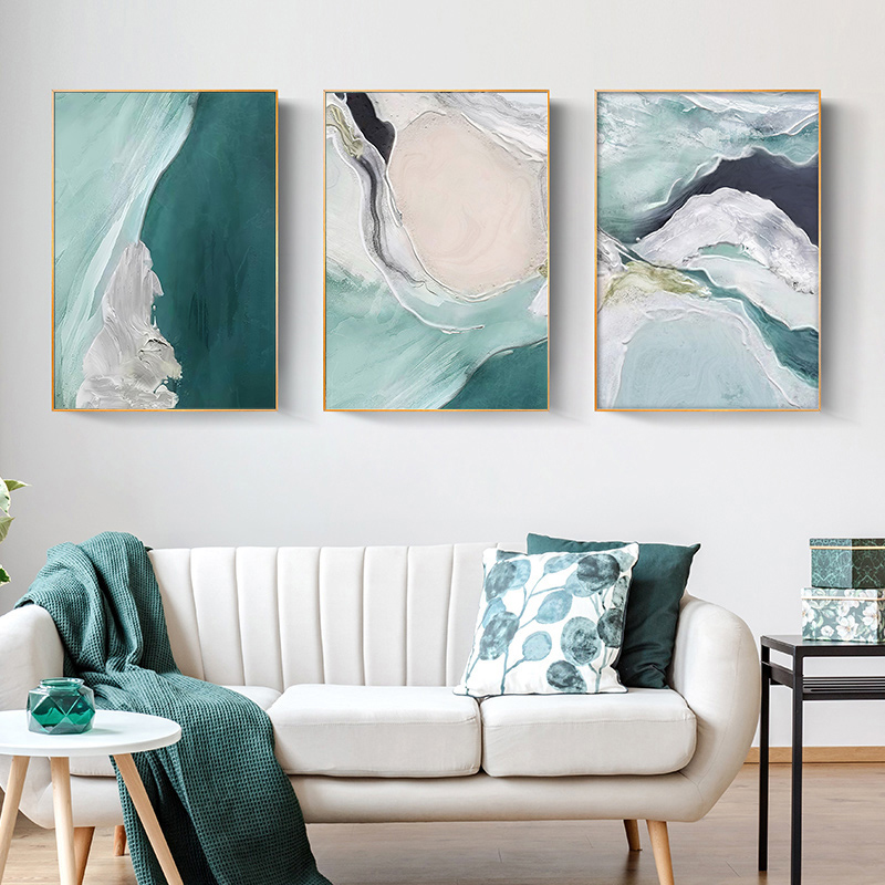Minimalist Abstract Wall Poster Modern Style Canvas Print Green Texture Painting Contemporary Art Living Room Decoration Picture