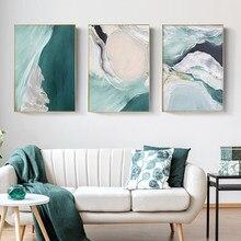 Минималистский Абстрактная живопись постер на стену современный Стиль из плотной ткани с принтом зеленого текстурная живопись современно...