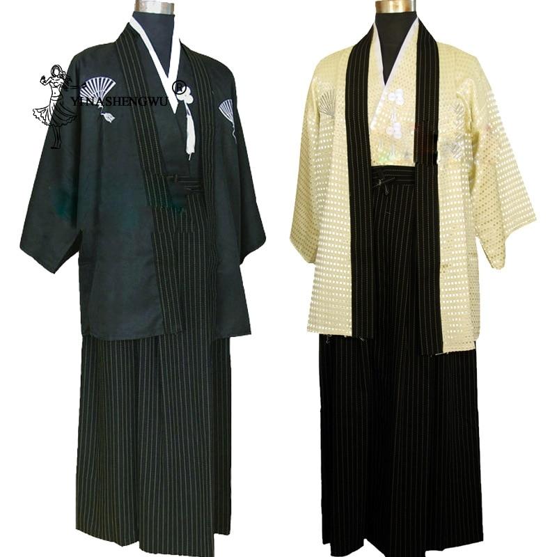 Japanese Samurai Costume Stage Costumes Yukata Men Japanese Kimono Traditional Dress Sets Kimono Cosplay Japan  Ancient Costumes