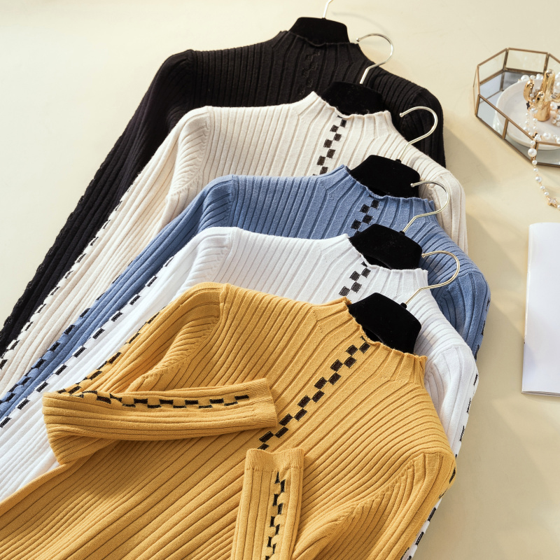 Thick Knitted Sweater Women Winter Autumn 2019 Long Sleeve Tops Female Slim Pullovers Hiver Pull Femme Poleras Suet White Blue
