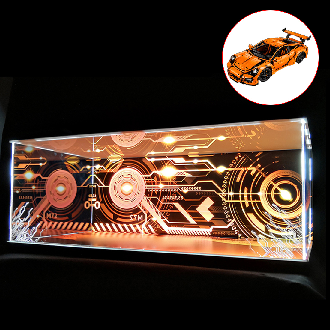 Building Block Acrylic Dustproof Display Box for 911 GT3 RS 42056 (Display Box Only, No Kit)- 3 Lights Rechargeable