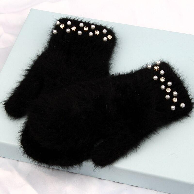 2022 Fashion women winter gloves Luxury Pearl Decoration Rabbit Fur Gloves Girl fingerless gloves outdoor Female mittens luva