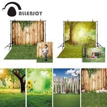 Allenjoy – arrière-plan de photographie de printemps, Fond mural en bois de parc de lierre d'herbe de pâques pour Studio Photo, pour séance Photo