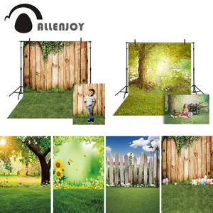 Image 1 - Allenjoy Spring Photography Backdrops Easter Grass Ivy Park Wooden Wall Background For Photo Studio Photocall Photophone Fond