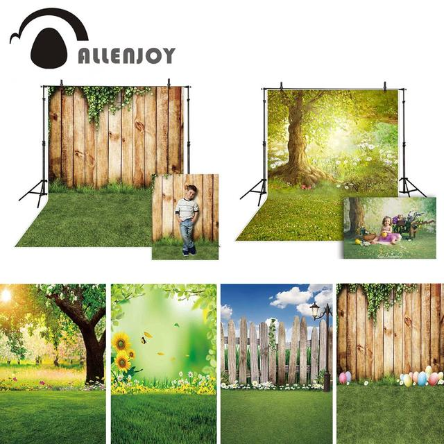 Allenjoy Spring Photography Backdrops Easter Grass Ivy Park Wooden Wall Background For Photo Studio Photocall Photophone Fond