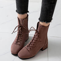 Autumn Women Boots Casual Martin Boots European Ladies Shoes Suede Leather Ankle Boots With Thick Women Shoes Plus Size 35 43