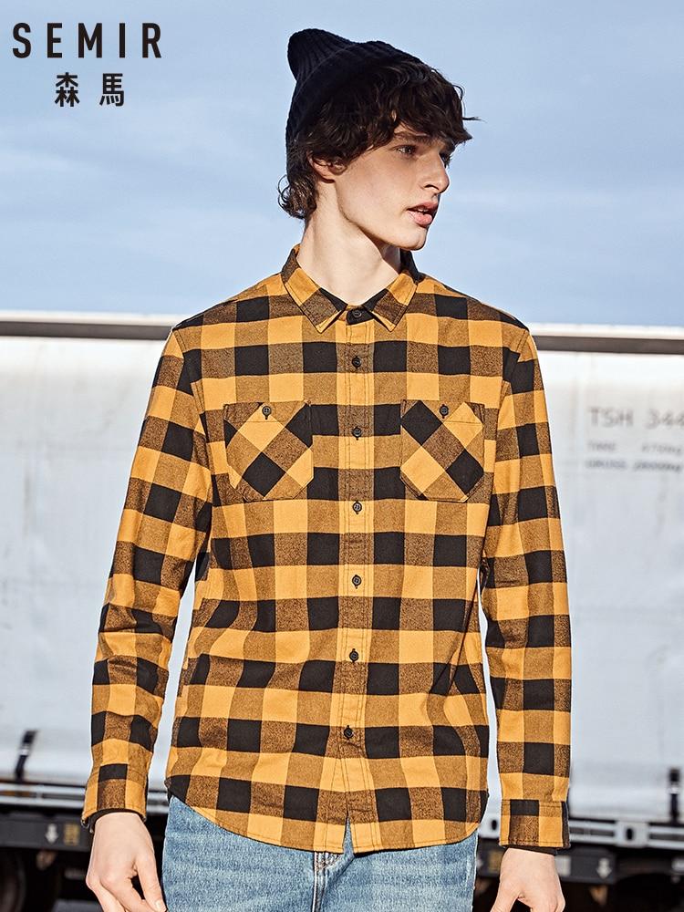 Semir Flannel Plaid Shirt Men 2019 Long Sleeve Shirt Men's Cotton Thickening Grind Winter Plaid Shirt Korean Tide