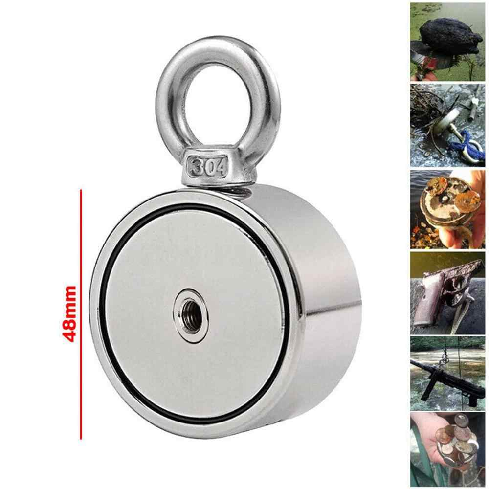 Néodyme métal aimant puissant équipement 200/300/500KG Double face néodyme métal aimant détecteur pêche Kit + 5M corde