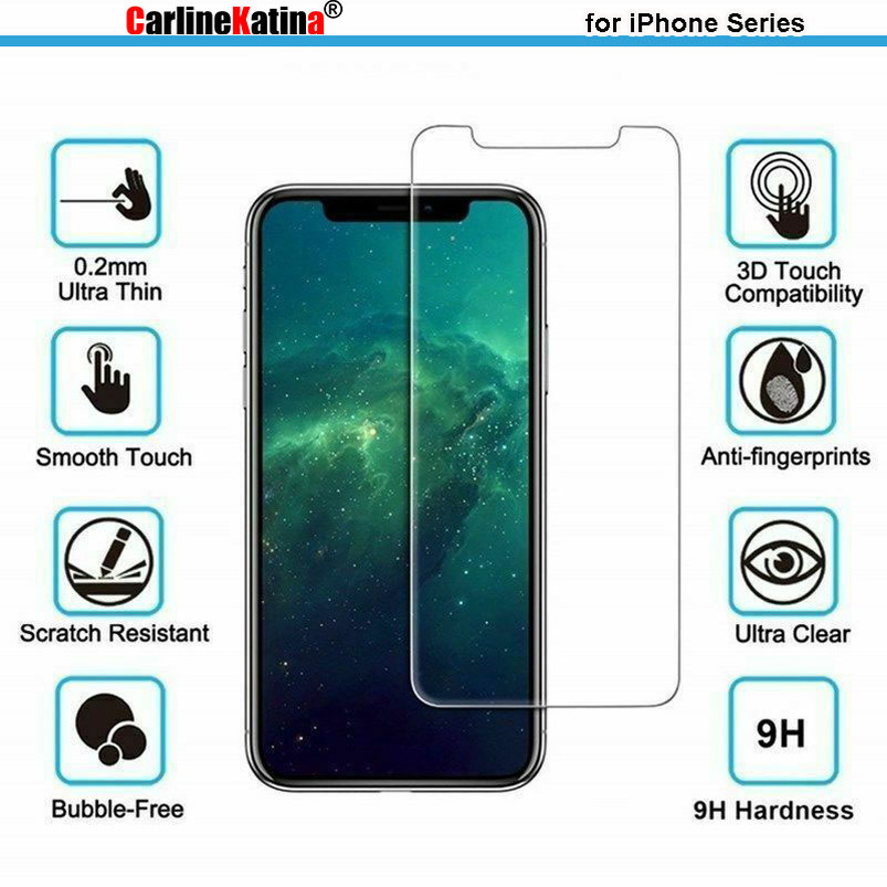 TOP 9H Tempered Glass Screen Protector Film For Iphone 11 Pro Max XR Xs Max 8 X 10 4 4s 5 5s 5c SE 6 6s 7 Plus Case Cover
